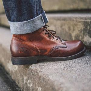 FRYE Prison Men's Ankle Boot Cognac Leather 10 US